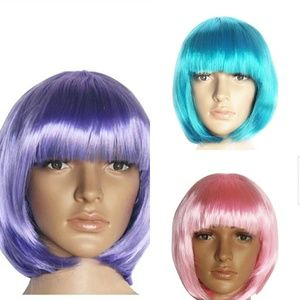 💋New Straight Bob Cut Full Wigs With Bangs💋